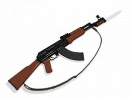 AK-47 rifle with bayonet 3d model preview