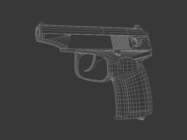 Black pistol 3d rendering