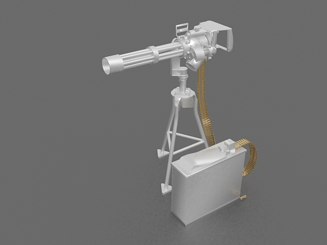 Minigun with ammo belt 3d rendering