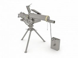 Machine gun with ammo belt 3d model preview