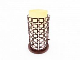 Antique Chinese wood table lamp 3d preview
