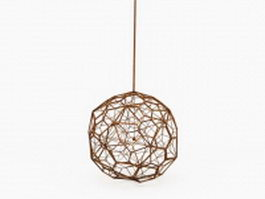 Wooden sphere pendant light 3d preview