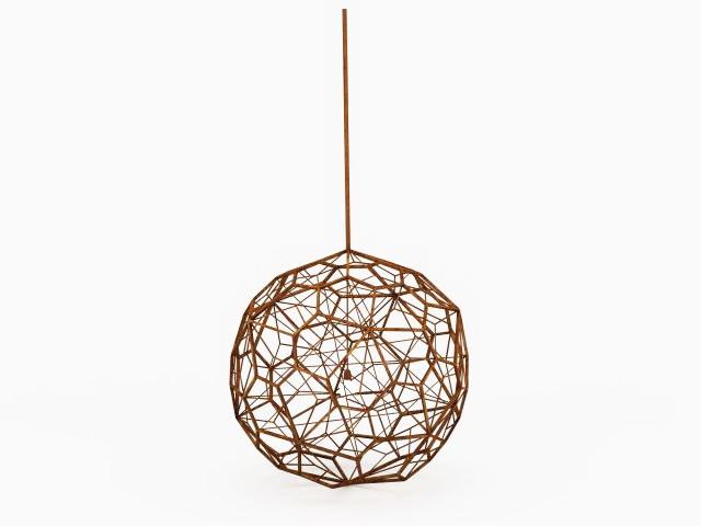 Wooden sphere pendant light 3d rendering
