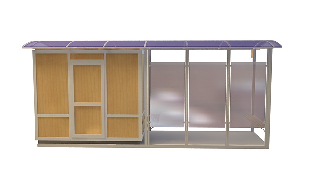 Bus transit shelter 3d rendering