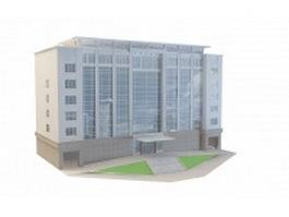 Office building architecture 3d preview