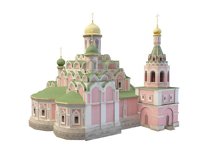 Kazan Cathedral in Moscow 3d rendering