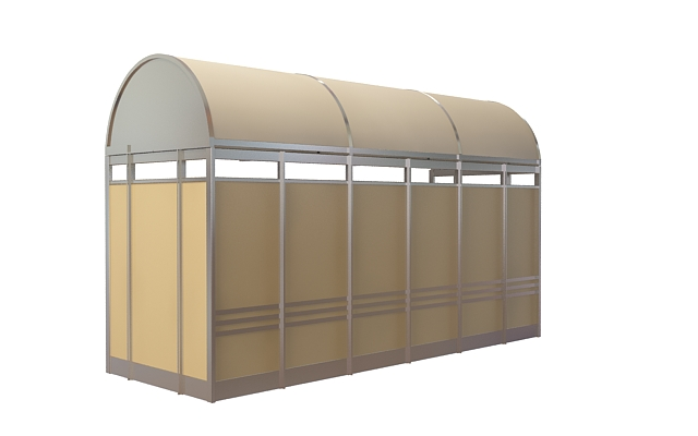 Bus shelter design 3d rendering