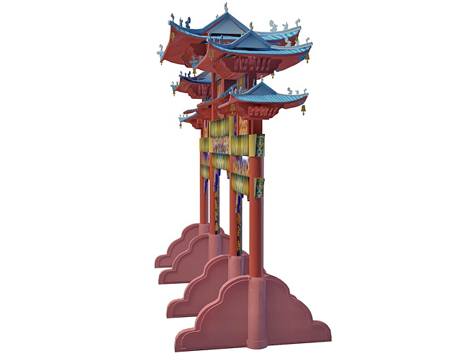 Chinese Paifang 3d rendering