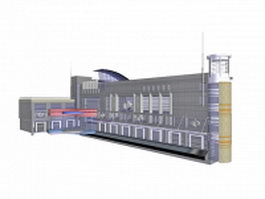 Airport terminal building 3d preview