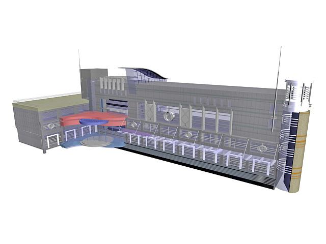 Airport terminal building 3d rendering