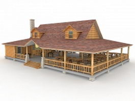 Village gift shop and restaurant building 3d preview