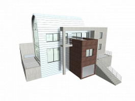 Villa with swimming pool 3d preview