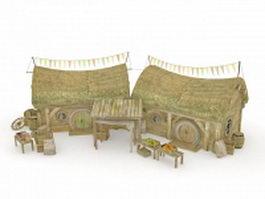 Hobbit house 3d model preview