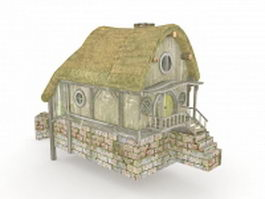 Hobbit village mill 3d model preview