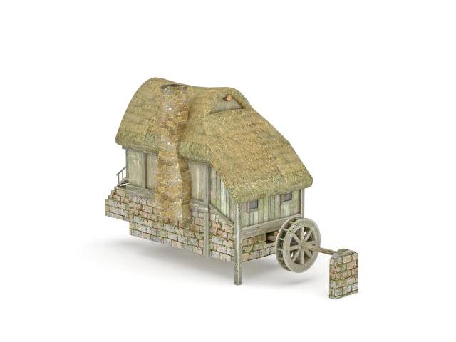 Hobbit village mill 3d rendering