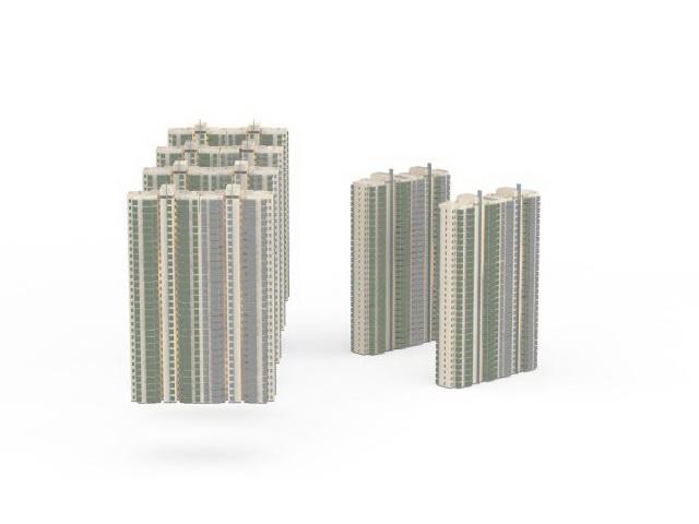Apartmentblock residential area 3d rendering