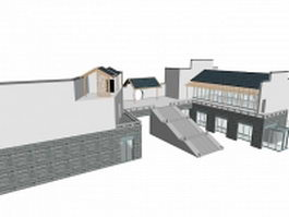 Chinese style building 3d preview