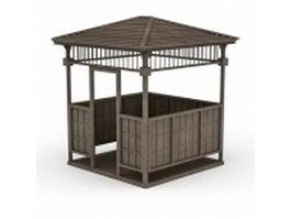 Wood pavilion for garden landscape 3d model preview