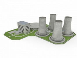 Nuclear power plant 3d preview