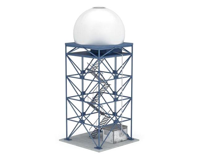 Industrial silo tower 3d rendering