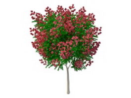 Artificial tree with red flowers 3d preview