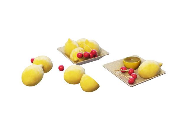 Lemon & cherry plate 3d rendering