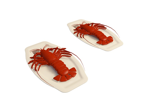 Lobster dishes 3d rendering