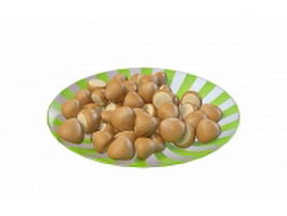 Chestnuts on plate 3d preview