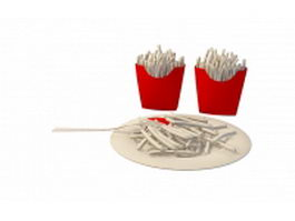 French Fries bag and plate 3d preview