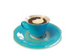 Coffee cup and saucer 3d preview