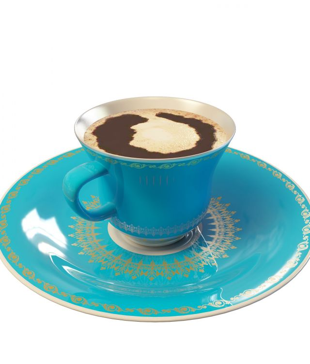 Coffee cup and saucer 3d rendering