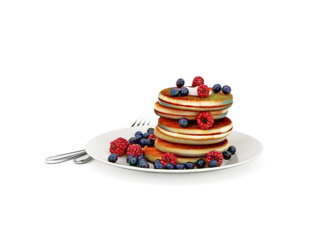 Blueberry pancakes 3d rendering