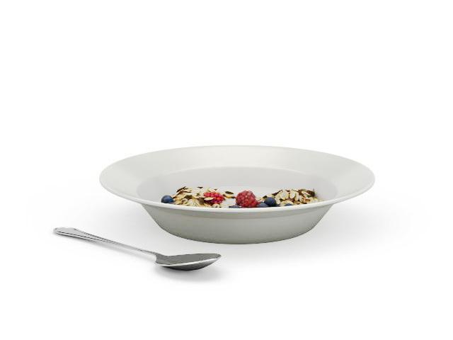 Blueberry oatmeal breakfast 3d rendering