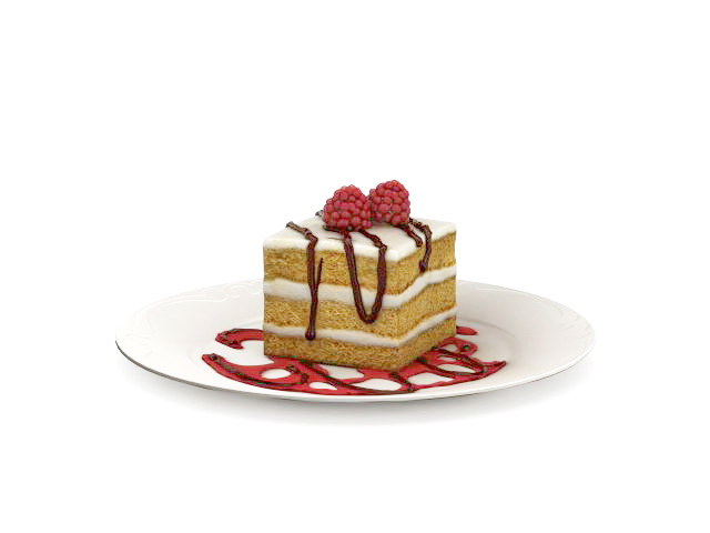 Piece Of Cake On Plate 3d Model 3ds Max Files Free