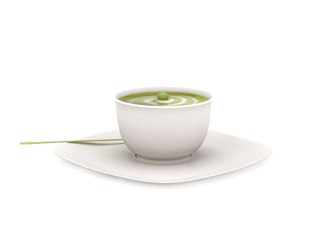 Green pea soup 3d rendering