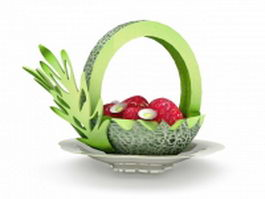 Carved melon fruit carving platter 3d preview
