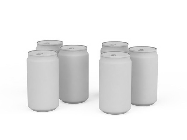 Collection of beverage cans 3d rendering