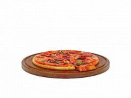 Pizza on bread board 3d model preview
