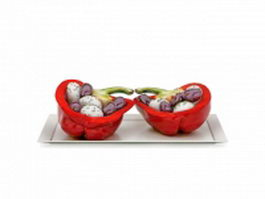Red bell pepper snacks 3d preview