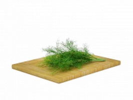 Parsley on cutting board 3d preview