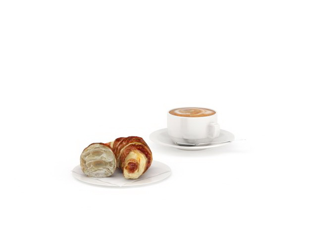 Coffee and croissants 3d rendering