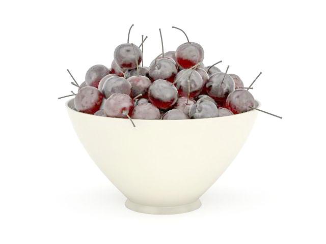 Bowl full of cherries 3d rendering