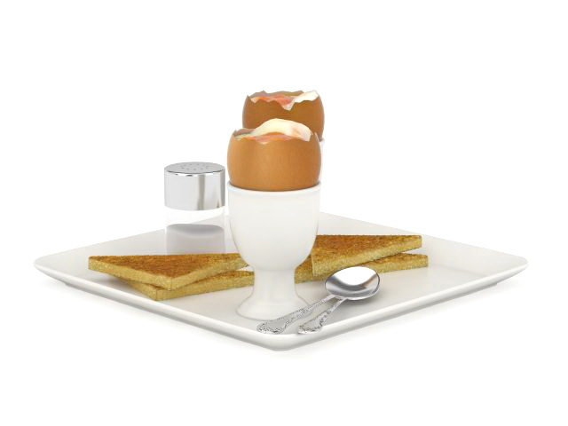 Egg and toast breakfast 3d rendering