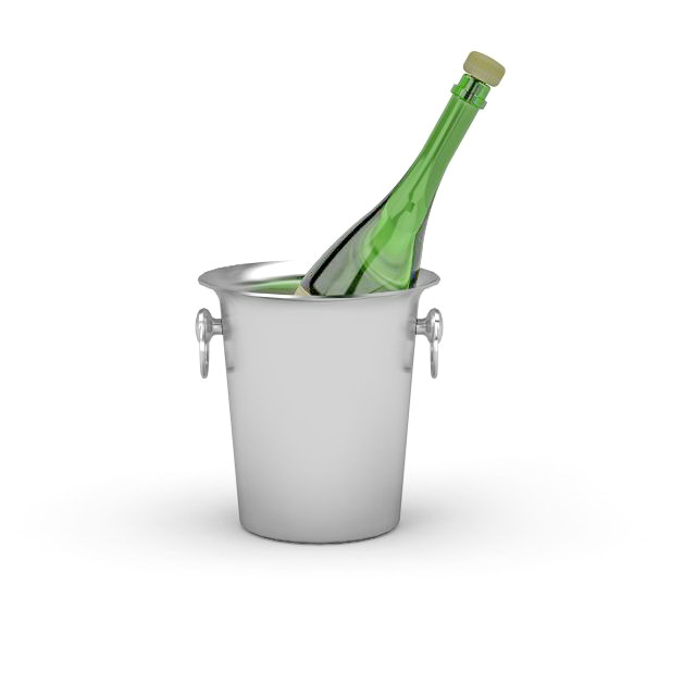 Champagne ice bucket 3d rendering