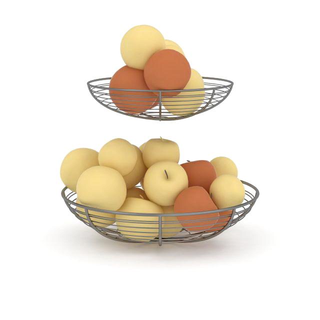 Wire apple baskets 3d rendering