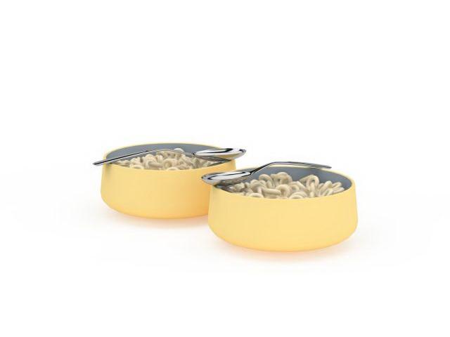 Ramen noodle and spoons 3d rendering