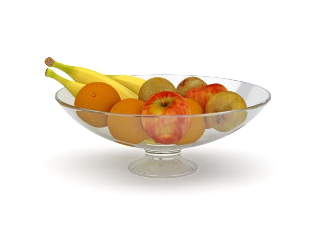 Glass bowl with fruits 3d rendering