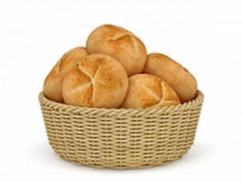 Bread in basket 3d preview