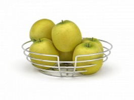 Apple in wire basket 3d model preview