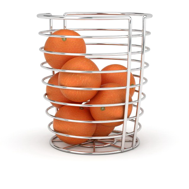 Wire fruit basket with orange 3d rendering